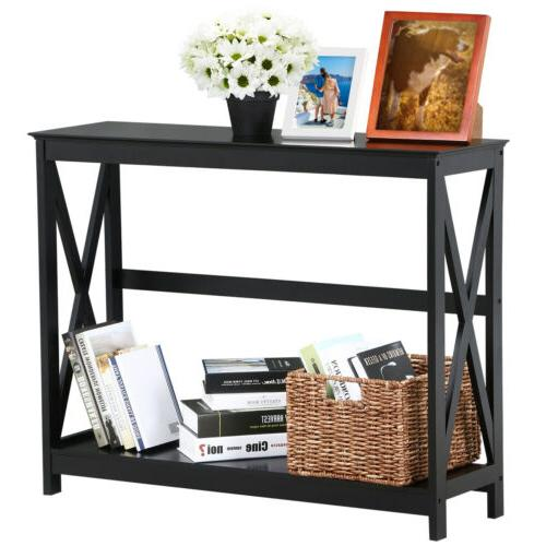 2 Tier Occasional Console Sofa Side Table Bookshelf Entryway