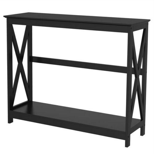 wood console table modern black