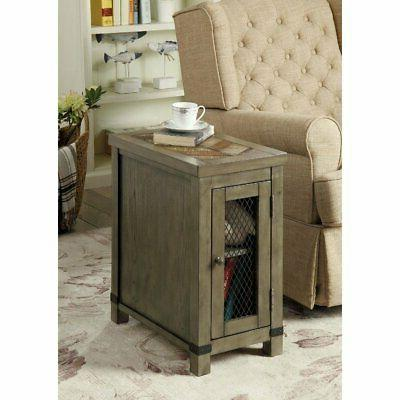 Wooden One Door Side Table with Metal Grate Front Panel, Rus