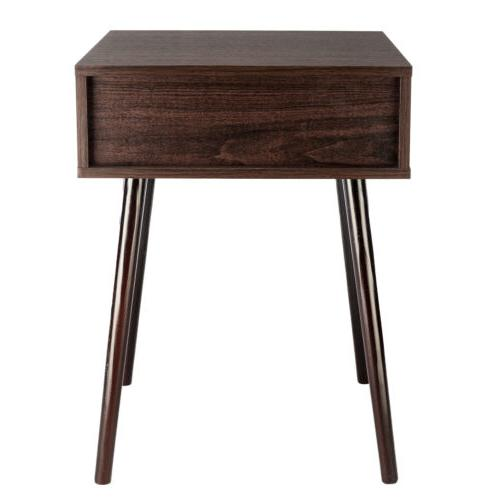Wooden Nightstand Modern Retro
