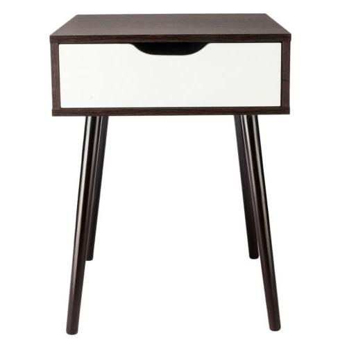 Wooden Sofa Table Nightstand With Drawer Retro Decor Furniture