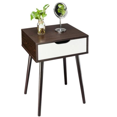 Wooden Sofa Side Nightstand Retro Decor