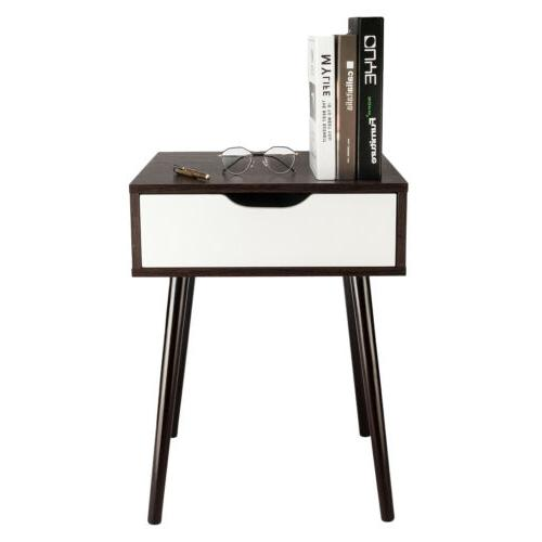 Wooden Sofa Nightstand With Drawer Modern Retro