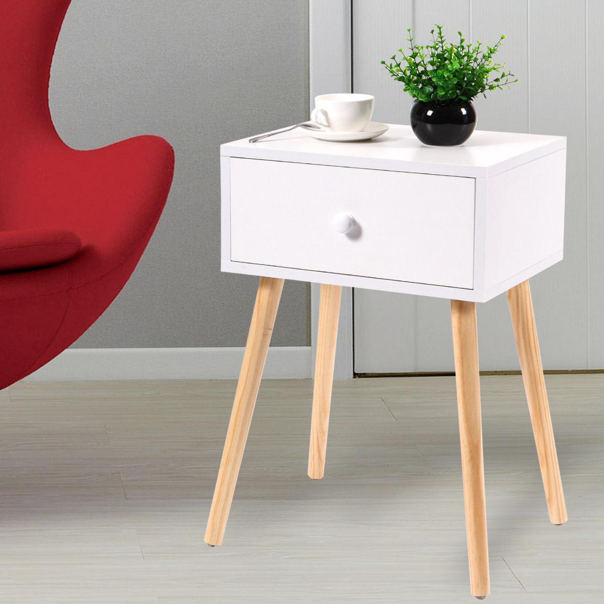 Nightstand With Drawer Modern Retro