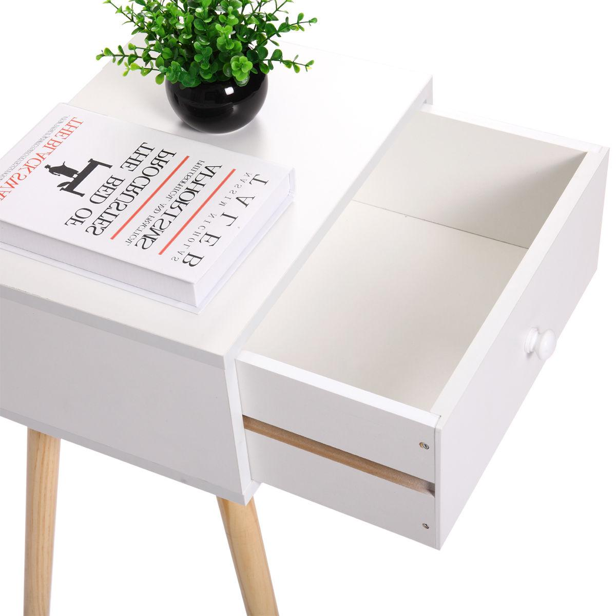 Wooden Tea Nightstand With Modern Retro Decor