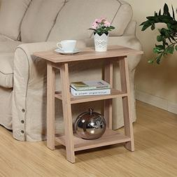 Ladder Chairside End Table Weathered Light Oak By Home Conce