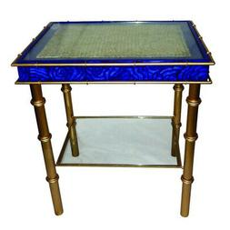 Lapis Sapphire Blue Side Table MidCentury Modern Accent End