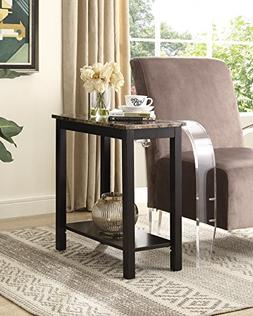 Roundhill Furniture Lediyana Faux Marble Top Side Table in E