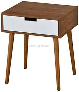 eHomeProducts Light Walnut/White Side End Table Nighstand wi
