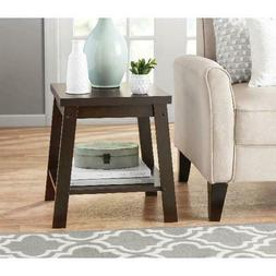 Logan Side Table Espresso Sturdy End Table Living Room Brown