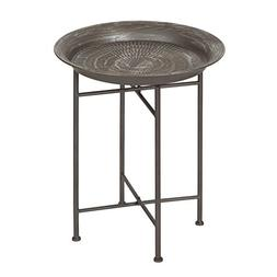 Kate and Laurel Mahdavi Hammered Metal Tray End Table, Pewte