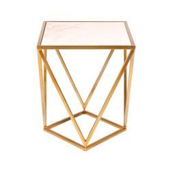 Maia Metal Side Accent Table with Marble Top by Kate and Lau