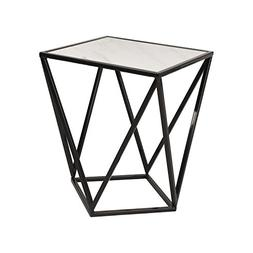 Kate and Laurel Maia Metal Side Accent Table with Marble Top