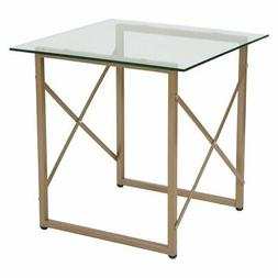 Flash Furniture Mar Vista Glass Side Table with Matte Gold F