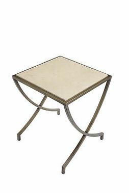 Marble Square Side Table with Metal X Style Curved Legs, Gol
