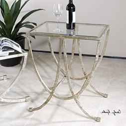 The Uttermost Marta Antiqued Silver Side Table