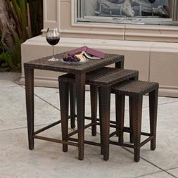 Mayall Patio Furniture 3 Piece Brown Nested Outdoor Wicker S