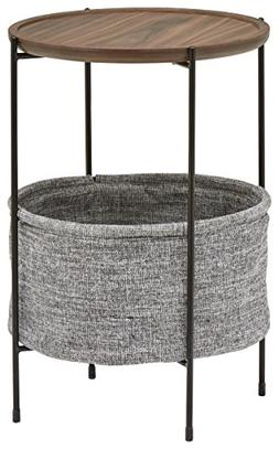 Rivet Meeks Round Storage Basket Side Table, Walnut and Grey