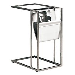 Monarch Metal Accent Table with a Magazine Holder, White/Chr