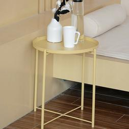 Metal Tray Table Round End Table Sofa Side Table Living Room