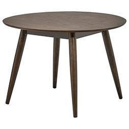 "Rivet Mid-Century Round Wood Dining Table, 42"" W, Chestnut"