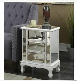 Mirrored Nightstand Table End Bedroom Bedside Side White Gla