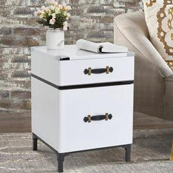 Modern 2-Drawer Coffee End Table NightStand Sofa Side Square