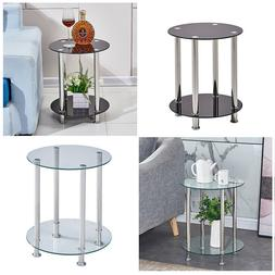 Modern 2 Tier Round Glass End Tables Console Coffee Sofa Sid
