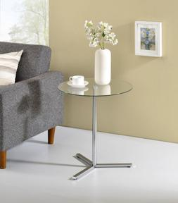 modern accent side end table chrome metal