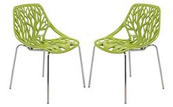 LeisureMod Modern Asbury Dining Chair with Chromed Legs, Gre