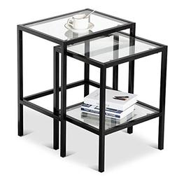New Set of 2 Modern Black Metal Glass Nesting Side End Table