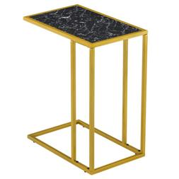 Modern C-Shaped Sofa Side Table with Gold Metal Base and Rec