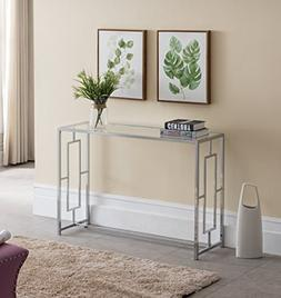 Modern Chrome Finish / Glass Top Console Sofa Table with Squ