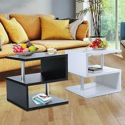 Modern Coffee Table Side End Table 2 Shelf Storage Living Ro