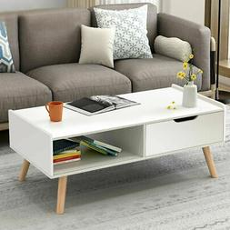 Modern Coffee Table Side End Table Cabinet With Drawers Soli