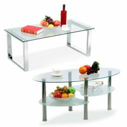 Modern Glass Rectangular/Oval Coffee Table Side End Tables L