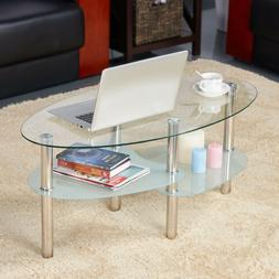 Modern Glass Top Oval Side Coffee Table Shelf Chrome Base Li