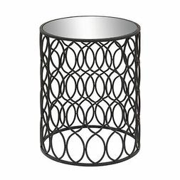 Zimlay Modern Iron And Glass Round Accent Table With Oval Tr
