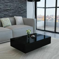 "vidaXL Coffee Table MDF High Gloss Black 33.5"" Accent Tea Si"
