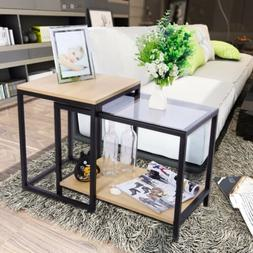 Lifewit 2 Piece Modern Nesting Side Accent Table Set Combina