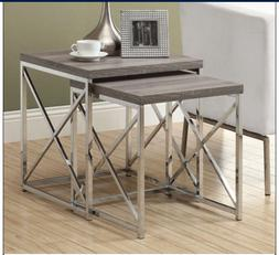 Modern Nesting Tables Metal Wooden End Side Accent Living Ro