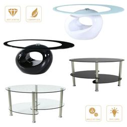 Modern High Gloss Glass Oval Coffee Table Living Room Furnit