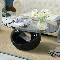Modern Oval Glass Coffee Table w/ Round Hollow Shelf End Sid