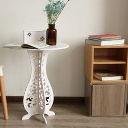 Modern Round Coffee Side End Table Living Room Furniture Whi