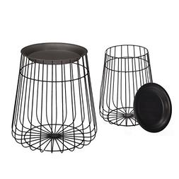 ELEGAN Modern Round Metal Side End Table, Set of 2