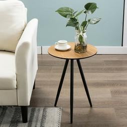 Modern Round Side Table End Table Wood Coffee Tea Table Long