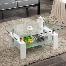 Modern Side Coffee Table Glass Top w/Shelf Living Room Furni