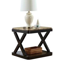 O&K Furniture Modern Square Faux Marble Top Side End Table w
