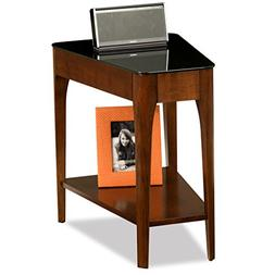 Modern Wood Recliner Wedge Accent Side Table with Tempered B