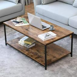 Industrial Coffee Table with Storage Shelf Metal Frame Cockt